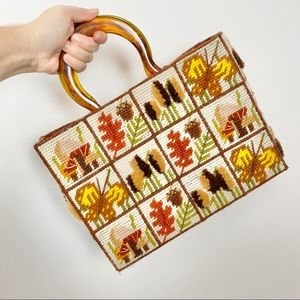 Vtg 70s handmade cross stitch fall themed purse
